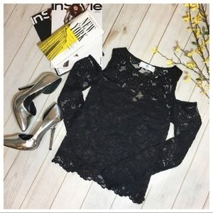 LAST ONE! Black Lace Cold Shoulder Tunic